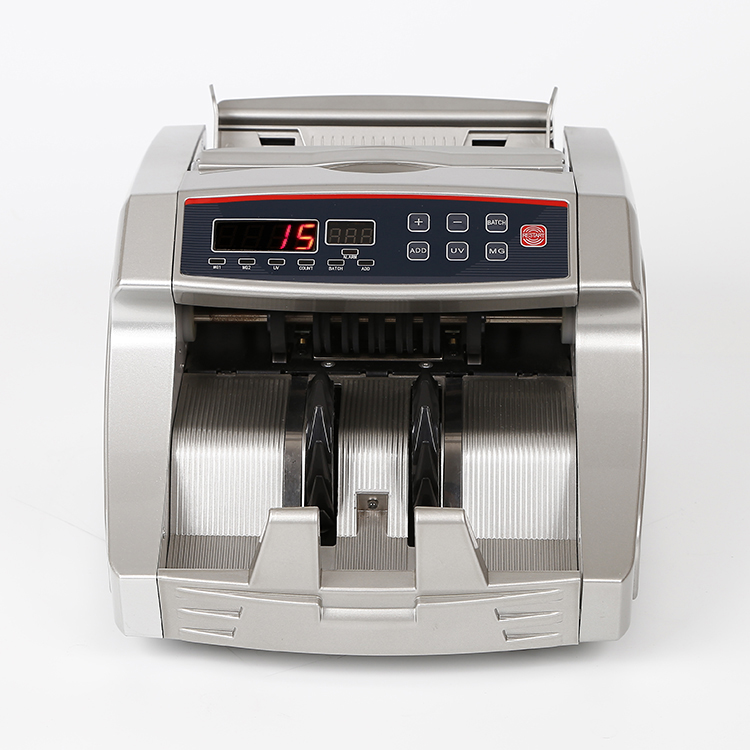 Cash counting machine with many functions and LCD screen