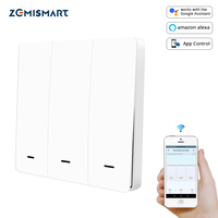 Zemismart Tuya Zigbee Light Switch 3 Gangs Physical Wall Switches Push Interruptor