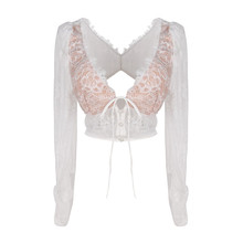 2020 New Arrivals Vrouwen Lady Tops Lace Lange Mouwen Diepe V-hals Crop Top Lady <span class=keywords><strong>Blouse</strong></span>