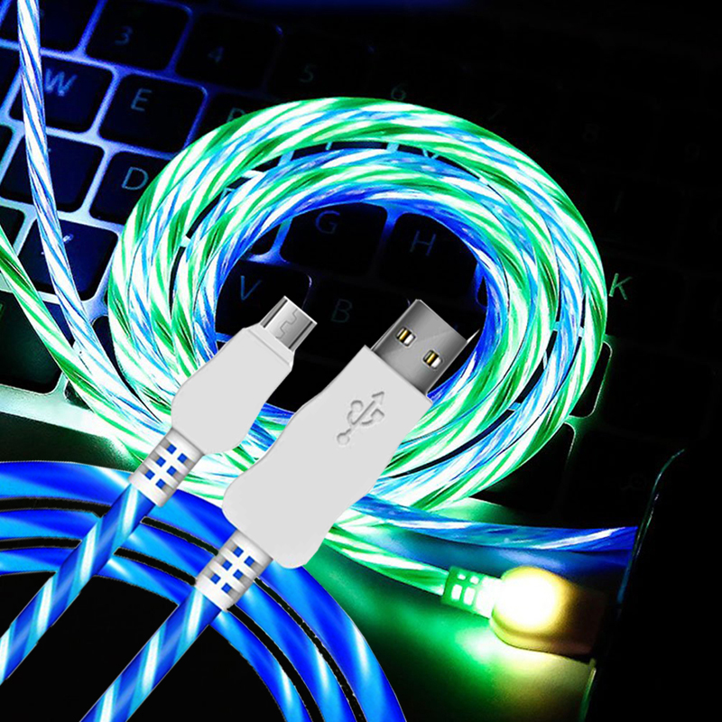 Multi Colors 2.4A Data Sync Flowing Light up Phone Charging USB Cable фото