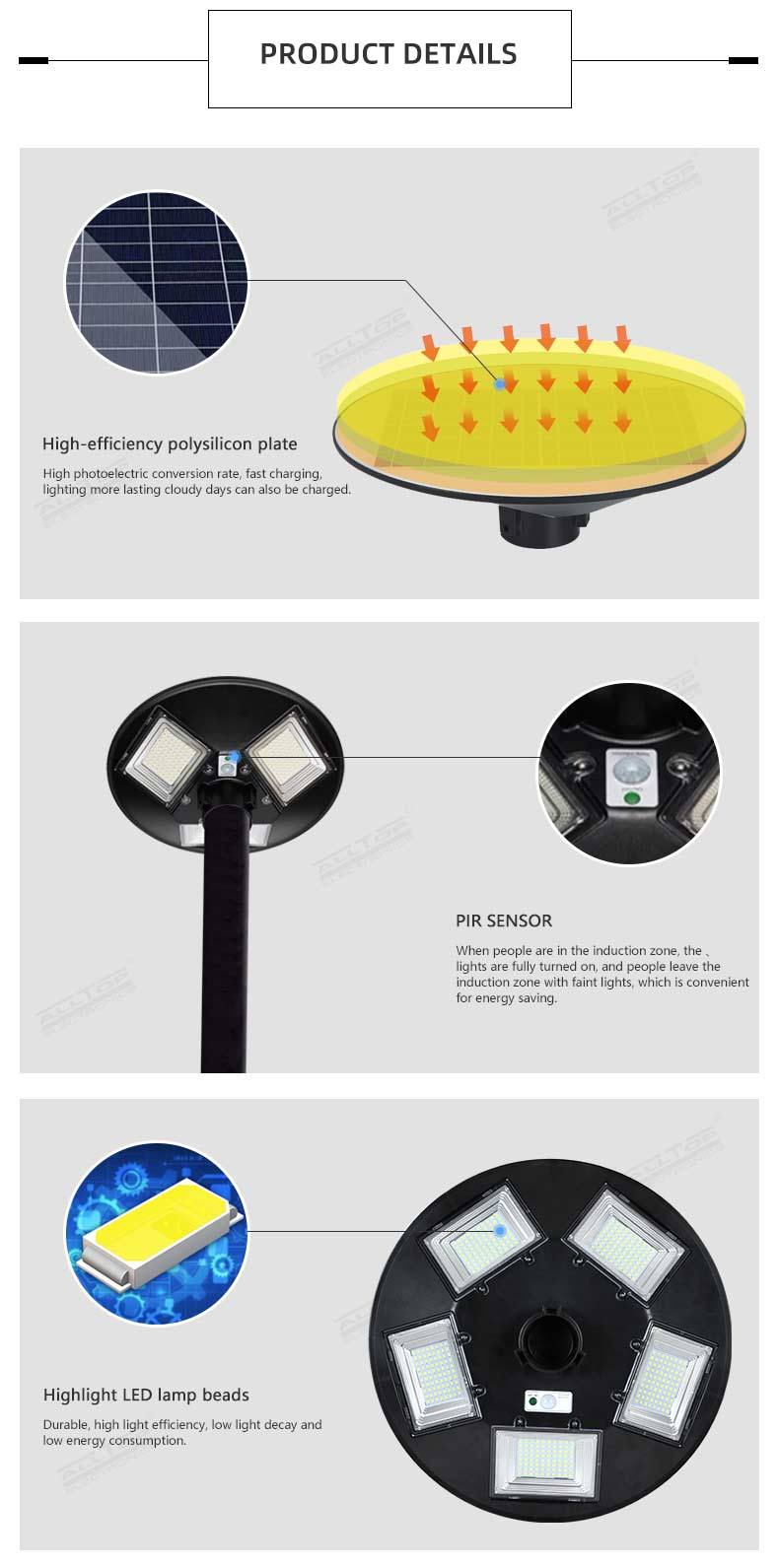 ALLTOP Good performance ABS outdoor all in one integrated ip65 waterproof 300w 500w solar garden lighting