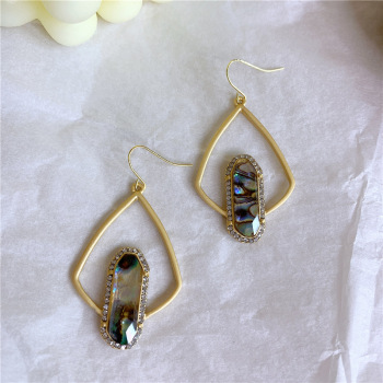 Vintage Crystal French Palace Style Gold Plated Alloy Triangle Earrings For Girls