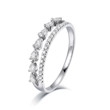 Sun Star Top notch di Lusso Gioielli Oro Reale Pear Cut Anniversario Eternity Anello di Diamanti per Quelli di Amore
