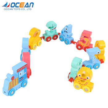 Intellectual enlightenment game wooden number wood train for kids