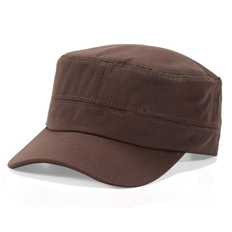 Custom logo brown military army style baseball flat top cap hats for men