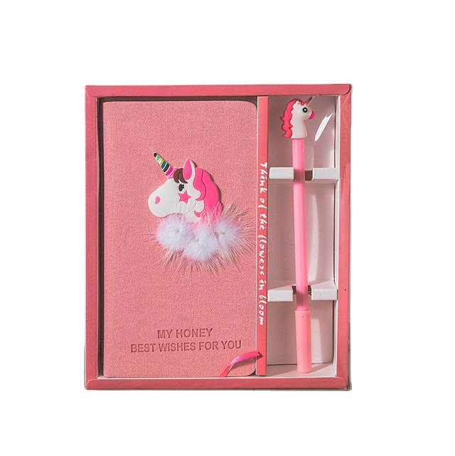 ราคาถูกประเทศจีนอุปทานสำนักงานเครื่องเขียนชุดของขวัญแฟชั่นสีชมพูการ์ตูนน่ารักF Lamingosออกแบบปากกาโน๊ตบุ๊คชุด