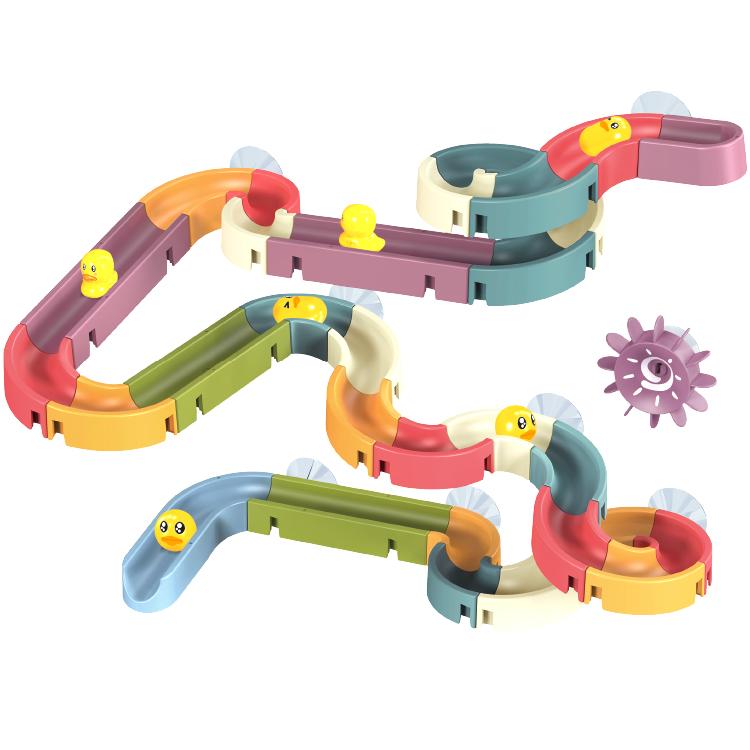 66PCS railway bath toy set bathtub toys water slide with duck baby bath toys