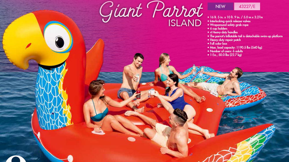 Hot selling cheap price inflatable large parrot water floating island for sale