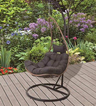 Rattan Hanging Swing Chair with Stand & Cushion Moon or Pear