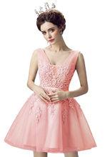Недорогое короткое вечернее платье с разноцветной вышивкой, на шнуровке, сексуальные шифоновые платья для Бала выпускных вечеринок(Китай)