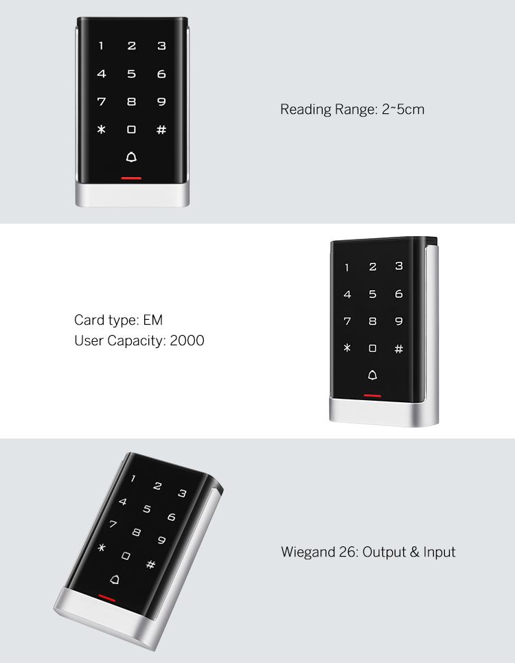Professional Standalone Access Control Keypad+RFID Reader 125KHz Wiegand 26 Illuminated Metal Case