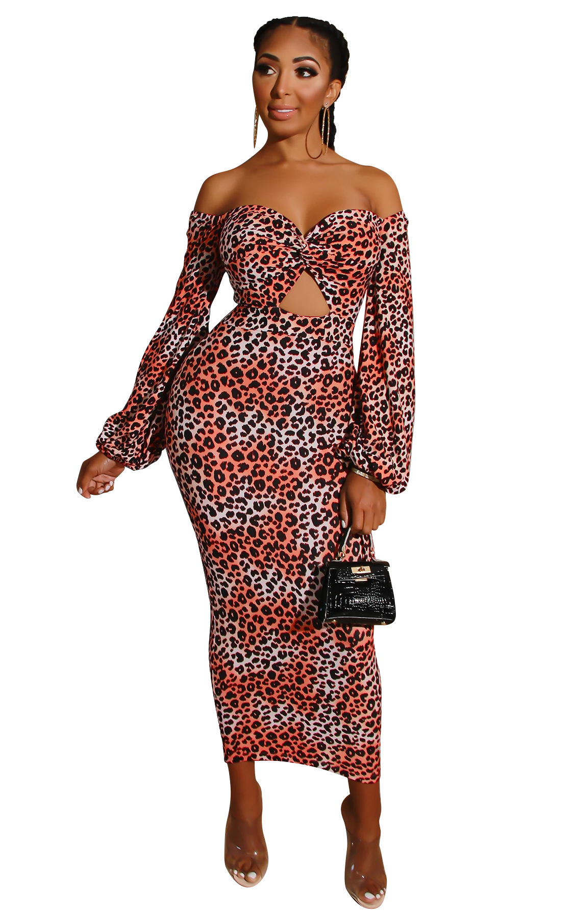 Popular leopard print sexy long dress in Europe and America