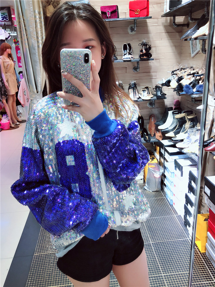 Fashion Lady Outwear Mixed Color Women Sequin Jacket Female Casual Streetwear Bomber Jacket Colorful Sequin Zipper Jacket Coat