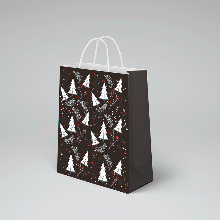 product-2020 new product dark black custom printed on glossy paper small black paper bag gift bags w-2