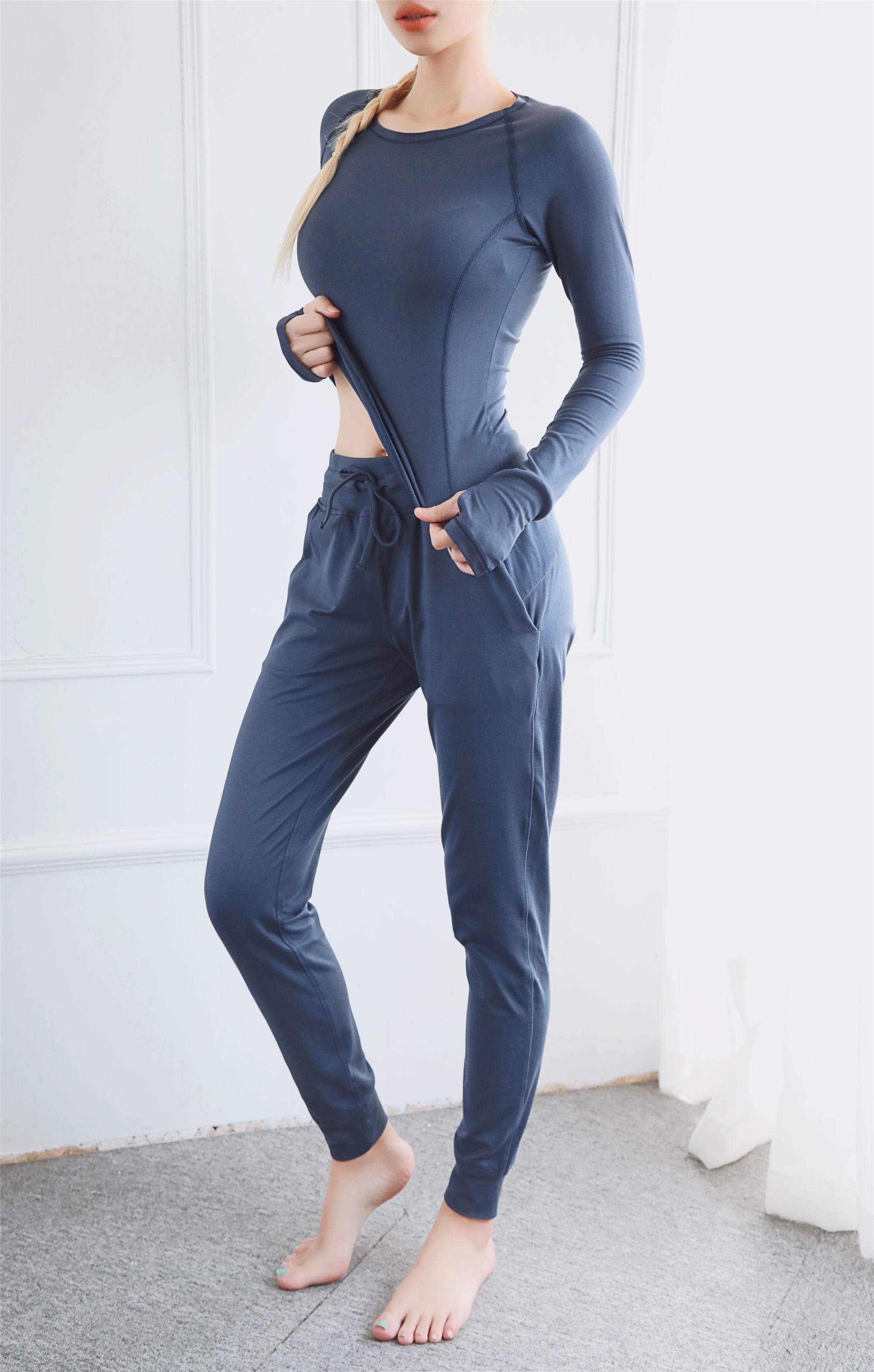 Wholesale Slimming Sports Top Fitness Wear Women Long Sleeve Running Shirts With Thumb Holes 3