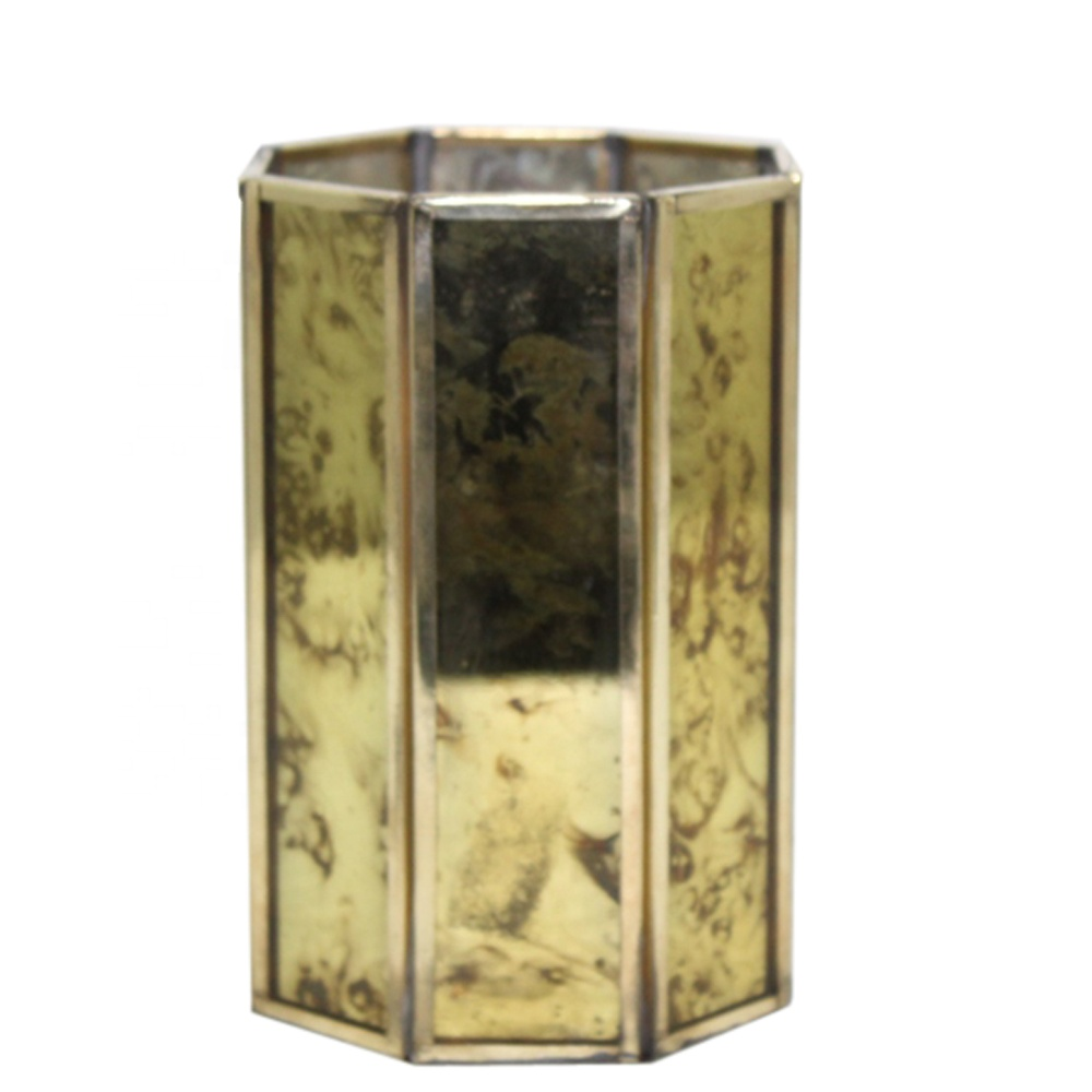 Brass And Glass Made Polished Luxury Round Votive Holder