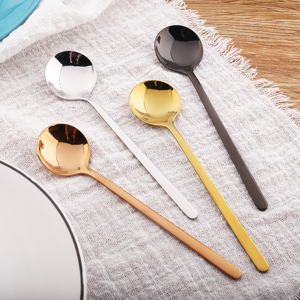 Stainless Steel 13cm Long Handle Spoon Iced Tea Coffee Stirring Mixing Spoon