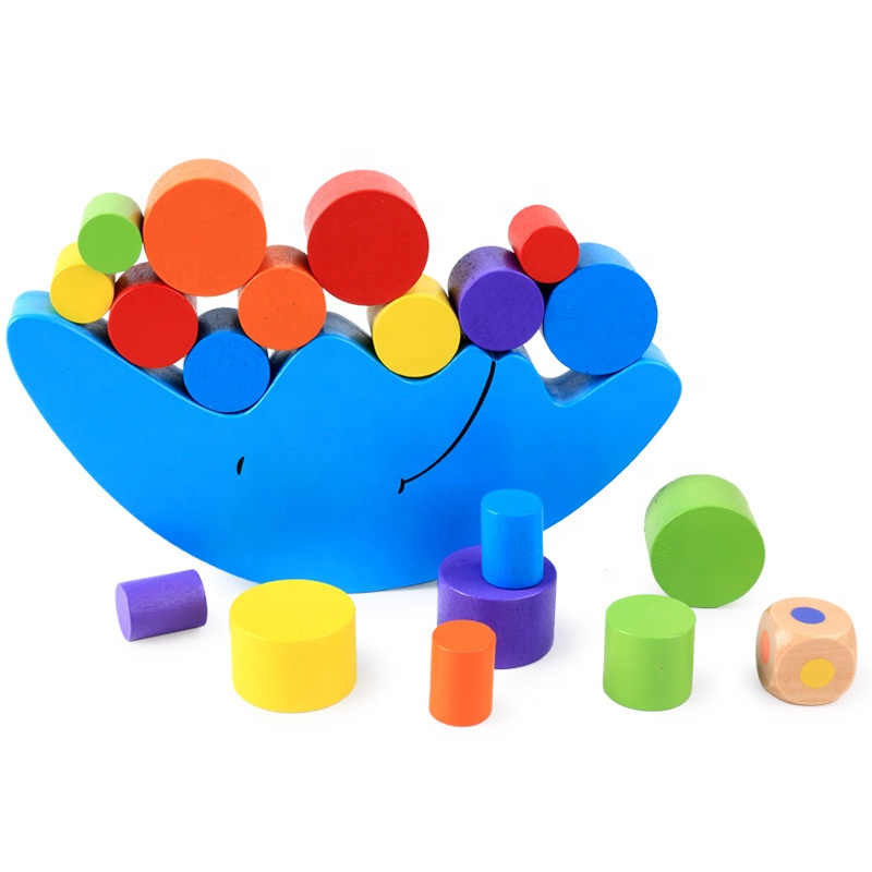 Children early educational wooden balance toy stacking blocks boat game blue wooden moon balance toy stacking toys
