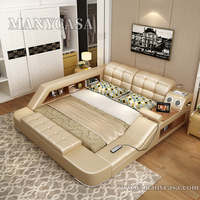 Multifunction storage bed Massage bed Tatami Bed  With Bluetooth Speaker of bedroom furniture