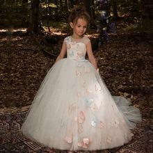 Свадебные платья для девочек с цветочным узором и бабочками; Роскошные Детские вечерние бальные платья для первого причастия; Платья для де...(Китай)