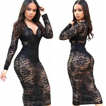 B34203A 2019 Women Sexy sheer lace design Bodycon long sleeve Party Dress