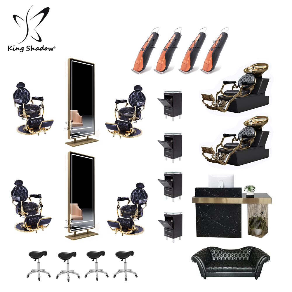 hot sale gold color barber chairs station used hair salon styling chair barber shop equipment