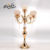 Upscale Simple Style 5 arm gold  Crystal candle holder Wedding Candle Stand