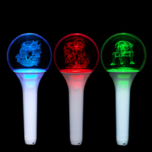 Kpop <span class=keywords><strong>Concert</strong></span> Juichen Light Stick Voor Fan 'S Club Aangepaste Logo Bal Vorm Acryl Glowing Led Stick Voor Fan 'S juichen