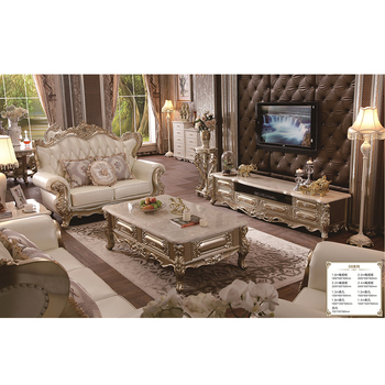 Antique Solid Wood Gold Leaf luxury coffee table TV stand and 1+2+3 Seater sectional sofa set for living room furniture