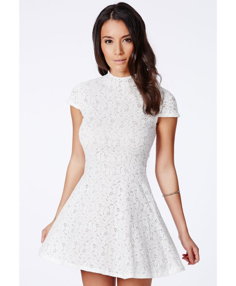 2019 Female New Design Dance Wear Holiday Cheap Mini Short Sleeve Floral Cotton White <strong>Lace</strong> High Neck Collar <strong>Skater</strong> Crochet <strong>Dress</strong>