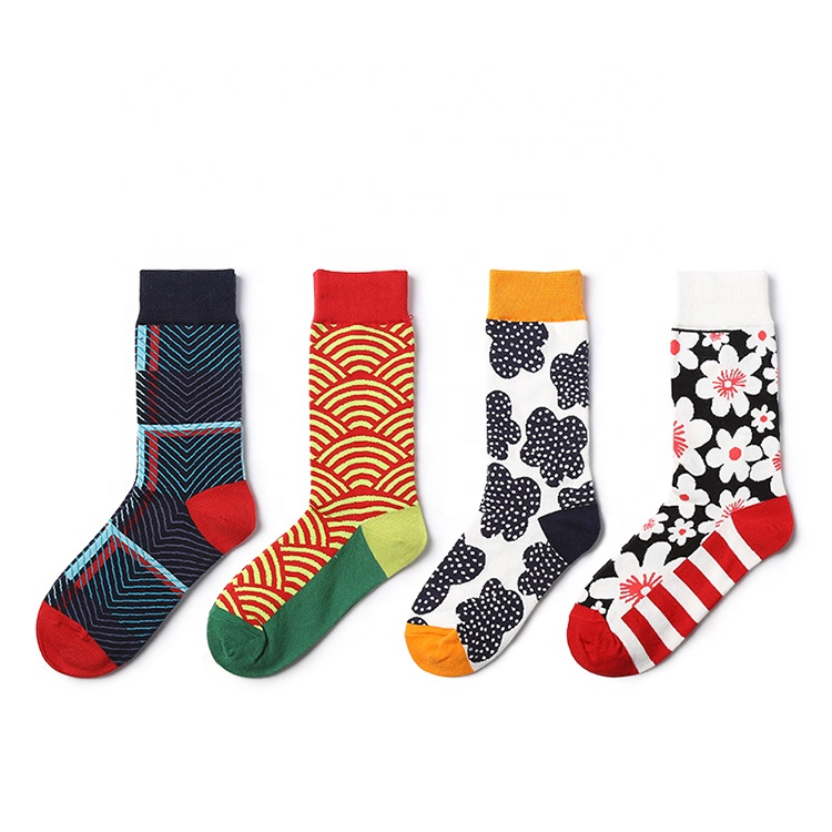2019 Fashion Custom Crew Plant Printing Cotton Man Sock Colorful Quality Designer Logo Knitted Men Socks Manufacturer, Red;rose red;black;and grey;or customize