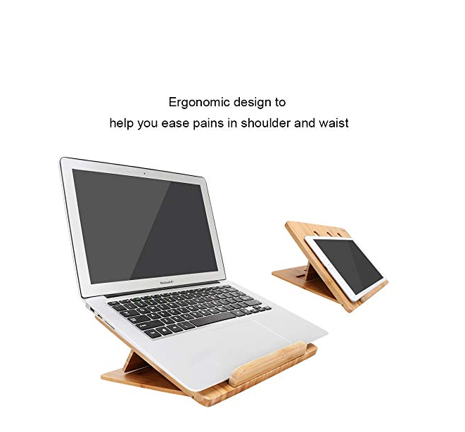 Bamboo Foldable Laptop Stand Holder Adjustable Notebook Tablet Desk Bed For Computer Heat Dissipation 3