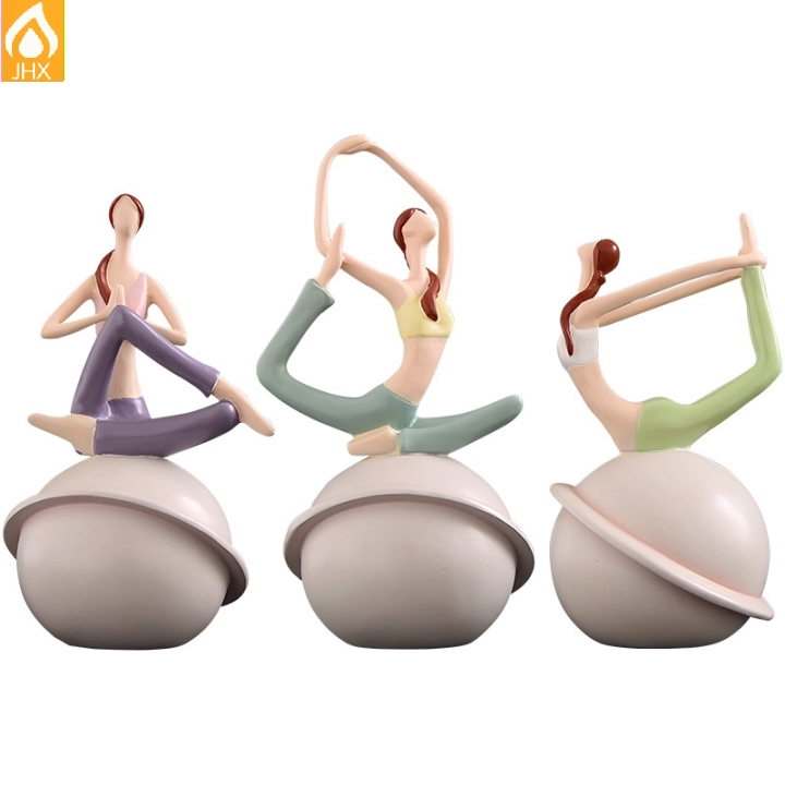 Toptan fiberglas reçine sanat Yoga poz Yoga kız heykeli hediye