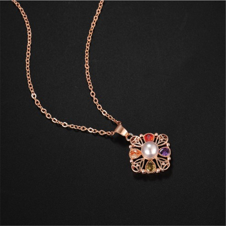 Fashion rose gold water wave chain flower necklace simple ladies clavicle chain plating total diamond pearl earring necklace