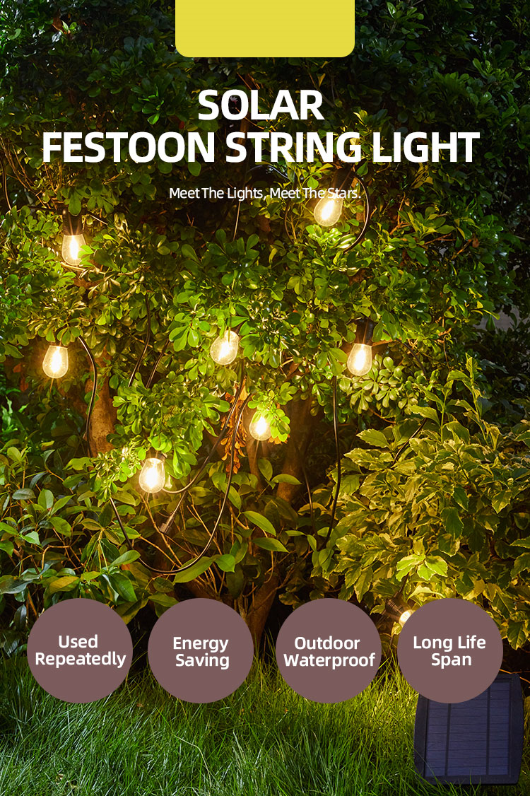 Energy Saving Solar led string lights for Backyard Lights Porch Lights Commercial Light String Outdoor Use