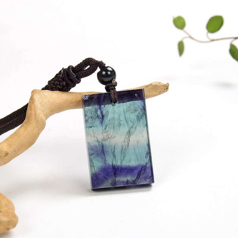 Square colorful rainbow fluorite crystal slice pendant for necklace Rainbow fluorite necklace
