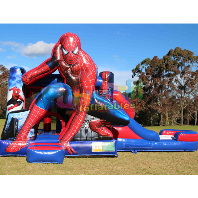 Outdoor custom commercial kid obstacle juegos inflables game combo castle inflatable bouncer slide jumper spiderman bounce house
