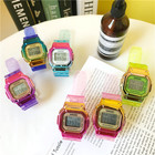 Cute colorful transparent strap digital watch student sports watch for kids