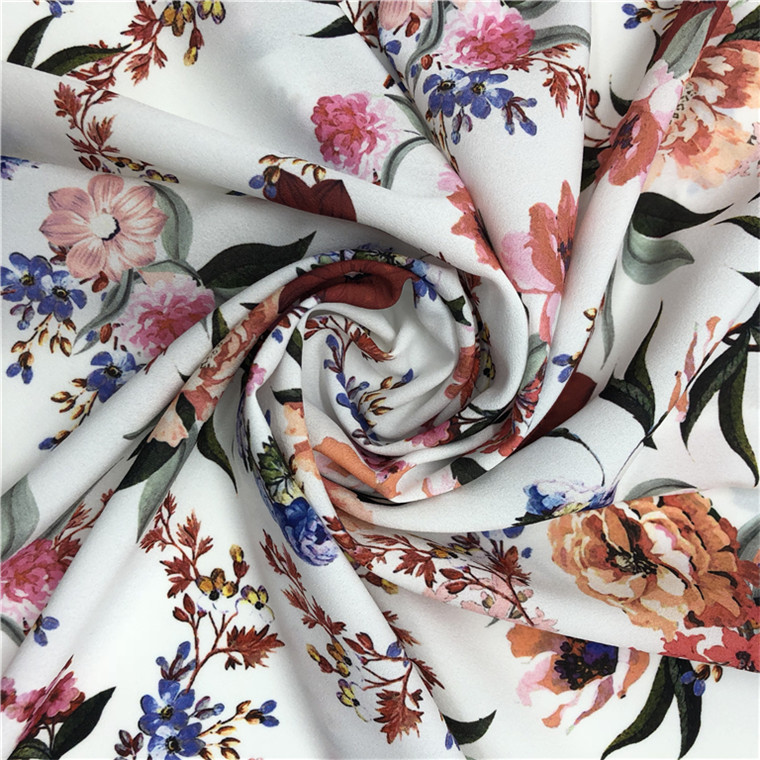 2017 Custom Digital 100% Polyester Print Crepe Fabric Design Textiles for Women Scarf