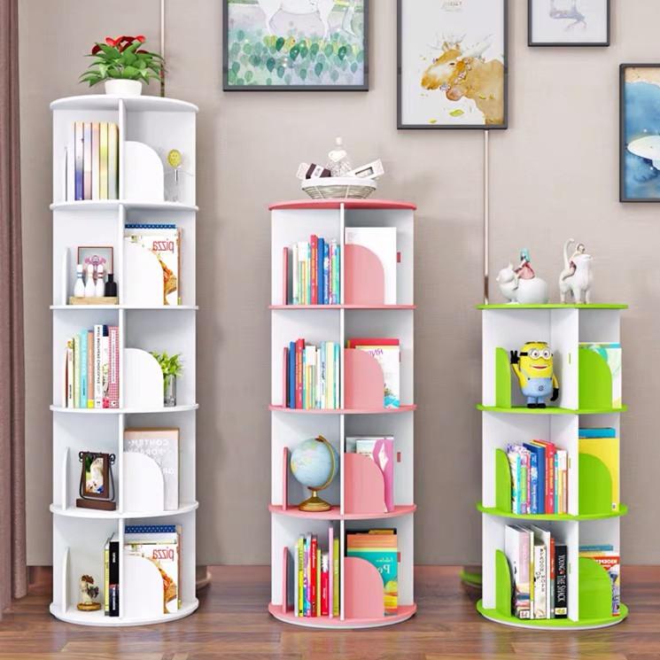 Rotating Bookshelf 360 Degree Rotatable Kids Bookshelf Home Furniture Revolving Storage Holders Racks Bookcase For Children