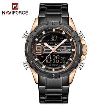 NAVIFORCE мужские часы, светодиодный, цифровые спортивные часы, кварцевые часы, нержавеющая сталь, ремешок, многофункциональные наручные часы д...(Китай)