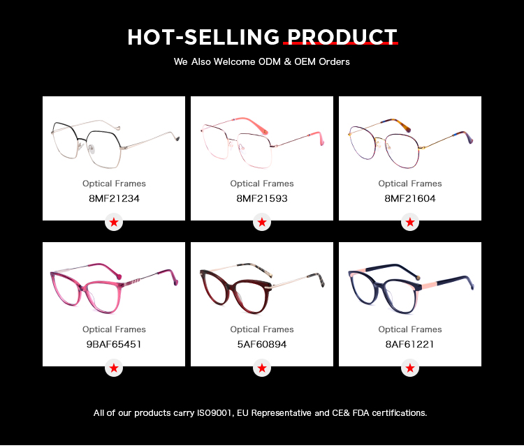 New fashion ladies acetate eyeglasses without nose pads