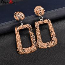 QianBei Мода темперамент Джокер длинные геометрические личности змея зерна pu кожаные серьги(Китай)