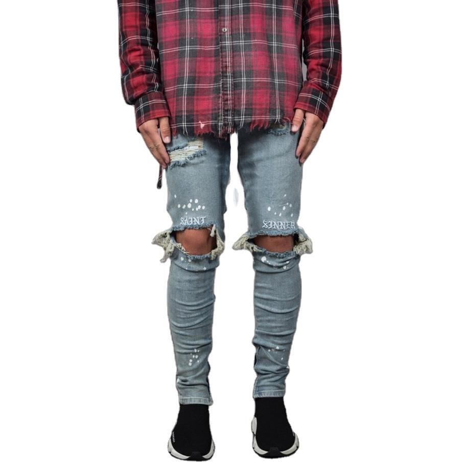 New Men's Skinny Jeans Slim Fit Ripped Ribbon Distressed Denim Jeans For Men