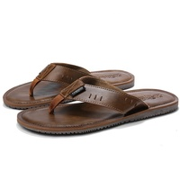 Comfortable Men Custom Logo Genuine Leather Wear-Resistant Flat Slide Slipper Flip Flip Sandals