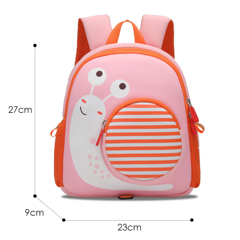 mochilas Cartoon Pink Snail Backpacks for Girls Children Fashion Cute Schoolbag Kindergarten Kids School Bags Neoprene Mochila Escolar
