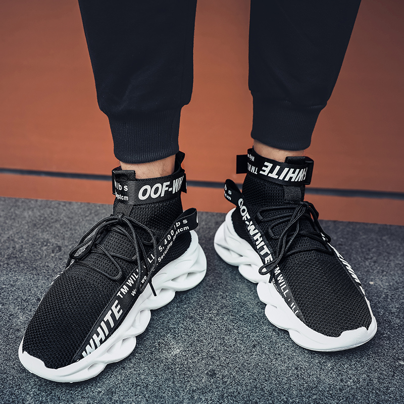 Wholesale Men high top Boots casual sock fashion elasticity black red knitting breathable walking sport shoes man Sock sneakers