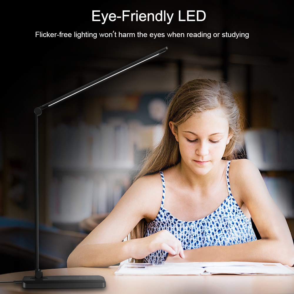 Eye-Caring LED Table Lamp with USB port , Dimming LED Desk Lamp with Fast Wireless Charger