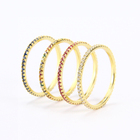 925 Sterling Silver Gold Plated Stackable Micro Pave CZ Rainbow Eternity Band Ring
