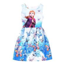 Летние платья для девочек, платье Эльзы, платье принцессы Анны, вечерние платья для девочек-подростков, одежда для маленьких девочек с принт...(Китай)